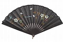 NINETEENTH-CENTURY FLORAL AND DRAGONFLY PAINTED FAN