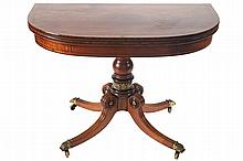 REGENCY PERIOD MAHOGANY AND EBONY STRING INLAID TEA TABLE, CIRCA 1810
