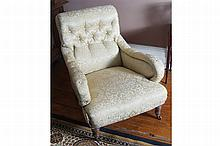 PAIR OF NINETEENTH-CENTURY UPHOLSTERED SCROLL BACK LIBRARY CHAIRS