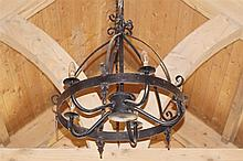 PAIR OF FIVE BRANCH WROUGHT-IRON CHANDELIERS
