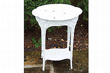 MARBLE TOPPED CAST IRON OVAL TABLE