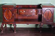 EDWARDIAN PERIOD MAHOGANY CHIPPENDALE PEDESTAL SIDEBOARD