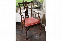 SET OF EIGHT EDWARDIAN CHIPPENDALE DINING CHAIRS