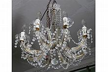 EIGHT BRANCH CRYSTAL CHANDELIER