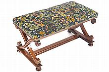 NINETEENTH-CENTURY PERIOD AESTHETIC REVIVAL WALNUT AND TAPESTRY UPHOLSTERED STOOL