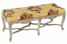 NINETEENTH-CENTURY PERIOD LOUIS XV STYLE UPHOLSTERED AND GREY PATINATED STOOL