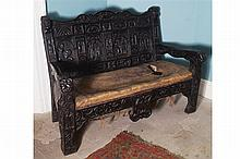 17TH-CENTURY CRESTED CARVED OAK HALL SEAT