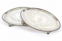 A PAIR OF OVAL TEAPOT STANDS, JOHN CROUCH & THOMAS HAMMOND, LONDON 1785