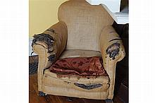 LARGE NINETEENTH-CENTURY UPHOLSTERED LIBRARY CHAIR