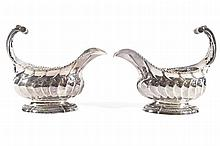 A PAIR OF OVAL FLUTED SAUCE BOATS, THOMAS HEMING, LONDON 1763
