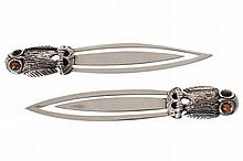 PAIR OF ANTIQUE OWL STERLING SILVER BOOK MARKS