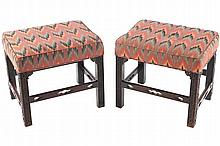 PAIR OF MAHOGANY AND UPHOLSTERED CHIPPENDALE STOOLS