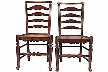 PAIR OF LATE EIGHTEENTH-CENTURY OAK LADDER BACK CHAIRS, CIRCA 1800