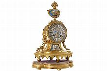 NINETEENTH-CENTURY FRENCH ORMOLU AND SEVRES MANTLE CLOCK