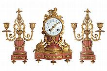 NINETEENTH-CENTURY ORMOLU AND PINK MARBLE CLOCK GARNITURE
