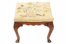 EIGHTEENTH-CENTURY PERIOD WALNUT AND TAPESTRY UPHOLSTERED STOOL, CIRCA 1740