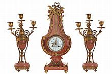 NINETEENTH-CENTURY ORMOLU MOUNTED PINK MARBLE CLOCK GARNITURE