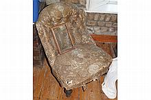 NINETEENTH-CENTURY UPHOLSTERED EBONY AND PARCEL GILT LADIES CHAIR