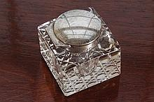 SILVER MOUNTED GLASS INKWELL