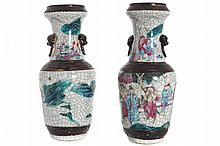 PAIR OF NINETEENTH-CENTURY CHINESE POLYRCHOME CRACKLE VASES