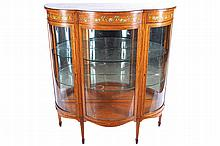 EDWARDIAN SATINWOOD AND PAINTED DISPLAY CABINET