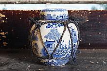 MASON'S BLUE AND WHITE GINGER JAR AND COVER