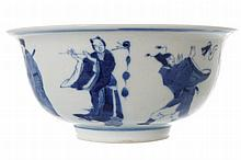 CHINESE BLUE AND WHITE 'EIGHT IMMORTALS' BOWL