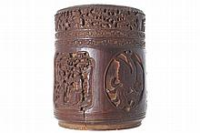 CHINESE QING PERIOD CARVED BAMBOO CIRCULAR BOX AND COVER