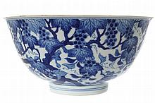 CHINESE BLUE AND WHITE 'SQUIRRELS AND GRAPEVINE' BOWL