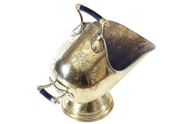 IRISH GEORGE III PERIOD BRASS COAL HELMET