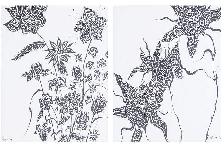 PAIR OF PEN AND INK SKETCHES