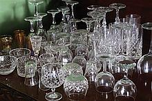 LOT OF SEVENTY WATERFORD, GALWAY AND OTHER CRYSTAL STEMMED GLASSES