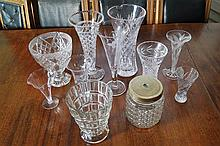 ASSORTED LOT OF 12 CRYSTAL AND GLASS VASES