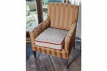EDWARDIAN MAHOGANY AND UPHOLSTERED ARMCHAIR