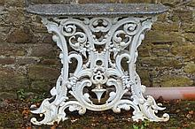 NINETEENTH-CENTURY CAST IRON SCROLL END GARDEN BENCH
