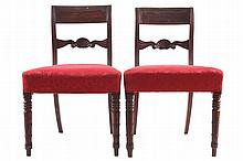 PAIR OF REGENCY PERIOD SCROLL BACKED SIDE CHAIRS