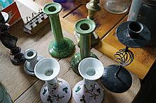 TWO PAIRS OF POTTERY CANDLESTICKS