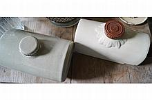 TWO POTTERY BED WARMERS