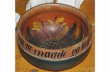 PAINTED POLYCHROME TURNED WOOD BOWL