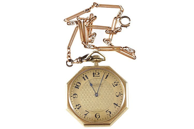 14 CT. GOLD POCKET WATCH AND 9 CT. GOLD CHAIN