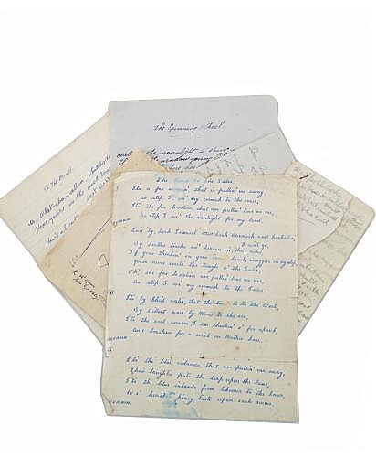 MISCELLANEOUS UNIDENTIFIED MANUSCRIPT CORRESPONDECE, POEMS, AND SONGS