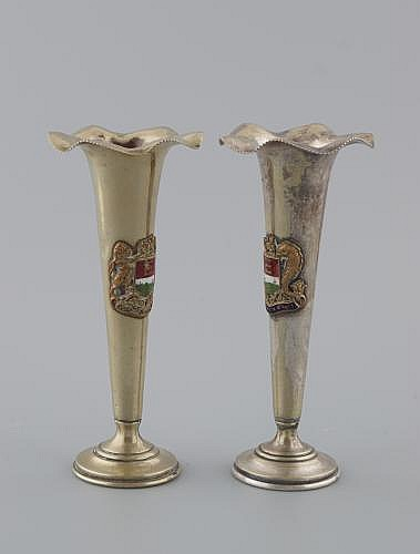 WATERFORD CITY ARMORIAL TRUMPET VASES,