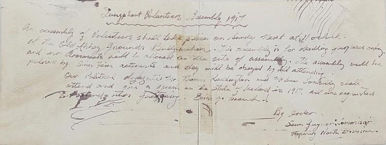 IRISH VOLUNTEERS ASSEMBLY NOTICE: CO. LONGFORD 1917