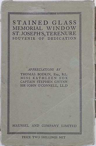 THOMAS BODKIN ET AL: STAINED GLASS MEMORIAL WINDOW, ST JOSEPHS TERENURE, SOUVENIR OF DEDICATION