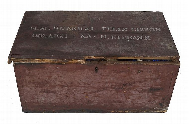 RARE_EARLY TWENTIETH CENTURY IRISH MILITARY TRUNK WITH INSCRIBED LID: