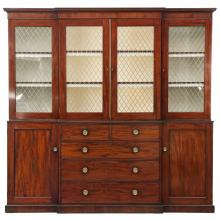 English George III Period Mahogany Breakfront Bookcase c. 1800, 610LKV16P