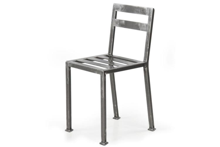 Industrial Style Welded and Tumbled Steel Metal Side Chair