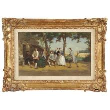 Jean Pezous (French, 1815-1885) Antique Painting Genre Scene, 19th Century