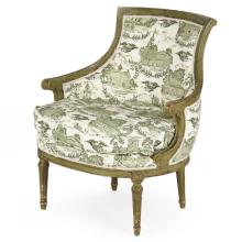 French Louis XVI Style Painted Antique Barrel Back Bergere Arm Chair c.1890-1920