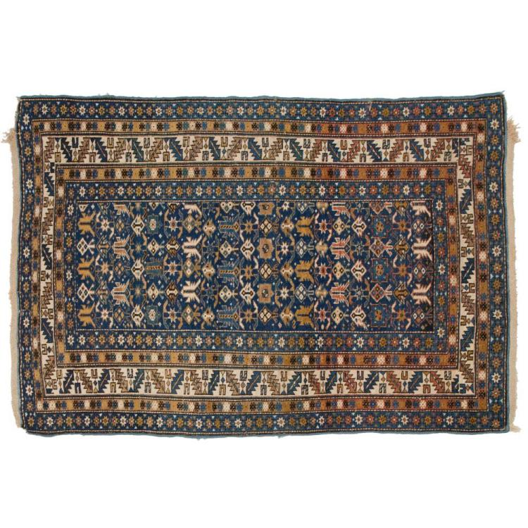 Shirvan Caucasian Antique Oriental Rug, Blue 3.5' x 5.5', c. Late 19th Century